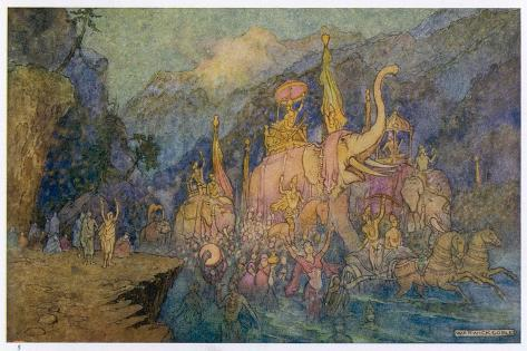 Heroes Rise from Ganges-Warwick Goble-Stretched Canvas Print