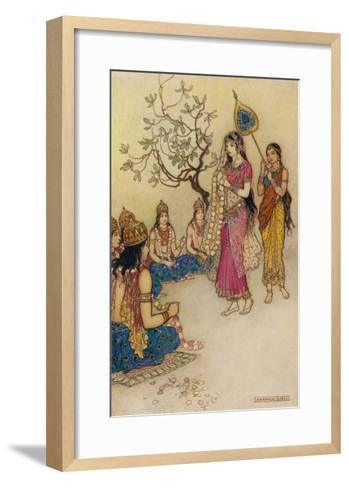 Damayanti Daughter of Bhima King of Vidarbha Chooses Prince Nala as Her Husband-Warwick Goble-Framed Art Print