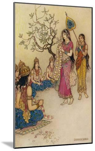 Damayanti Daughter of Bhima King of Vidarbha Chooses Prince Nala as Her Husband-Warwick Goble-Mounted Giclee Print
