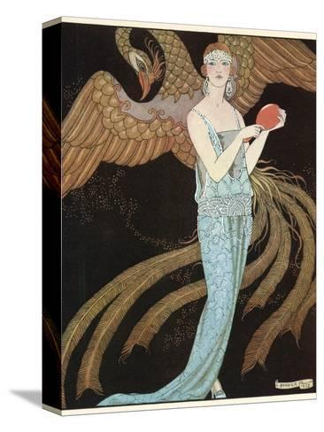 Blue Dress by Beer-Georges Barbier-Stretched Canvas Print