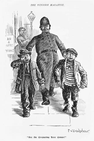 Jolly Plump Police Constable and His Tearful Prisoners-Percy Bradshaw-Stretched Canvas Print