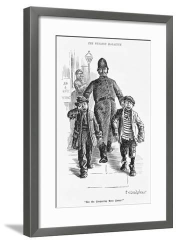 Jolly Plump Police Constable and His Tearful Prisoners-Percy Bradshaw-Framed Art Print