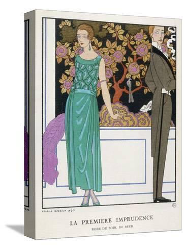 Jade Green Dress by Beer-Georges Barbier-Stretched Canvas Print