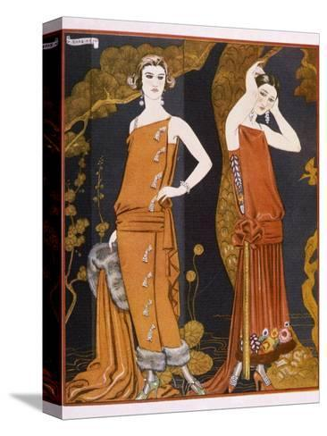 Orientally Inspired Gowns by Worth in Lacquer Reds-Georges Barbier-Stretched Canvas Print