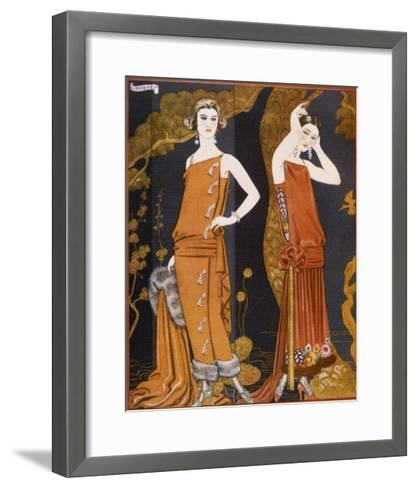 Orientally Inspired Gowns by Worth in Lacquer Reds-Georges Barbier-Framed Art Print