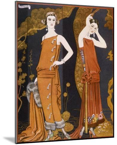 Orientally Inspired Gowns by Worth in Lacquer Reds-Georges Barbier-Mounted Giclee Print