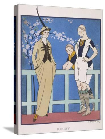 Tailor-Made by Redfern with Draped Skirt with Side Pockets Waistcoat and Jacket-Georges Barbier-Stretched Canvas Print