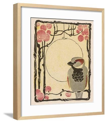 Decorative Bird on the Bough of a Fruit Tree-Ludwig Hohlwein-Framed Art Print