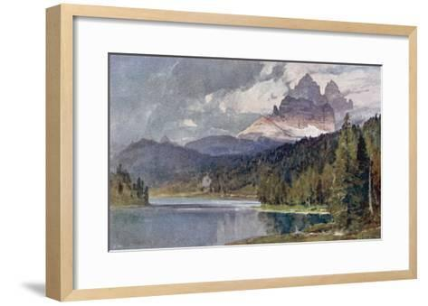 Italy: Lago Di Misurina in the Dolomites with Jagged Rocky Mountains in the Distance-Harrison Compton-Framed Art Print