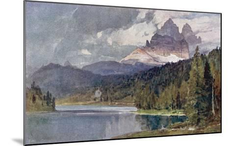 Italy: Lago Di Misurina in the Dolomites with Jagged Rocky Mountains in the Distance-Harrison Compton-Mounted Giclee Print