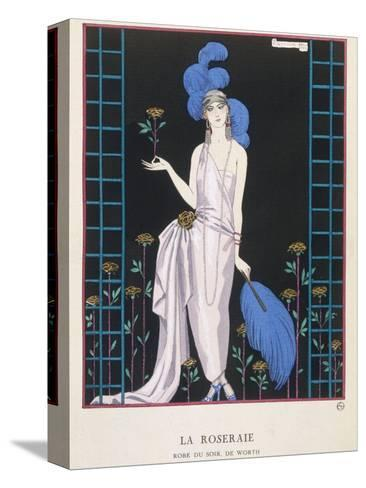 Asymmetrical Evening Gown by Worth with a Low Diagonal Waistline and a Long Flowing Train-Georges Barbier-Stretched Canvas Print