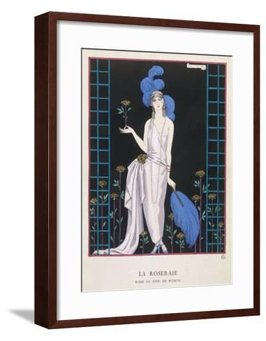 Asymmetrical Evening Gown by Worth with a Low Diagonal Waistline and a Long Flowing Train-Georges Barbier-Framed Art Print