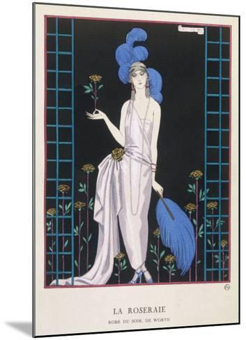 Asymmetrical Evening Gown by Worth with a Low Diagonal Waistline and a Long Flowing Train-Georges Barbier-Mounted Giclee Print