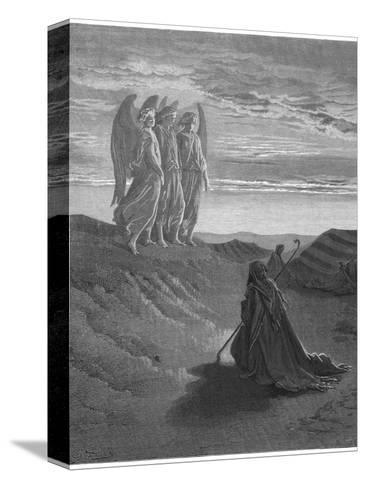 Three Angels Appear to Abraham and Inform Him of God's Intentions-Gustave Dor?-Stretched Canvas Print