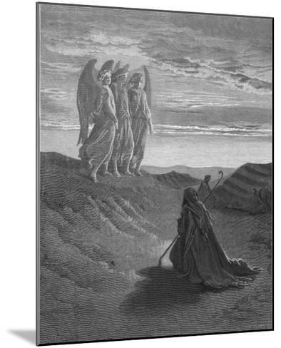 Three Angels Appear to Abraham and Inform Him of God's Intentions-Gustave Dor?-Mounted Giclee Print