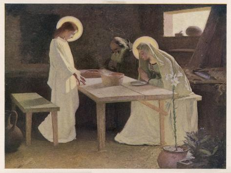 Jesus and His Parents at the Supper Table-Frank V. Du-Stretched Canvas Print