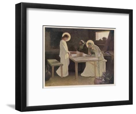 Jesus and His Parents at the Supper Table-Frank V. Du-Framed Art Print