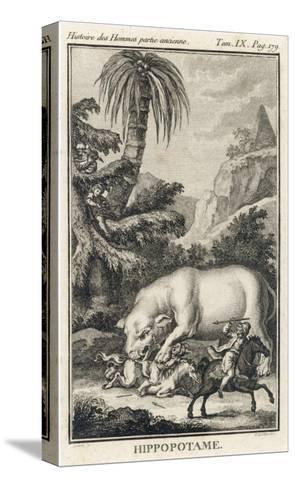 An Extraordinary Depiction of a Hippopotamus Savaging Hunters in an Exotic Landscape-G. Duclos-Stretched Canvas Print