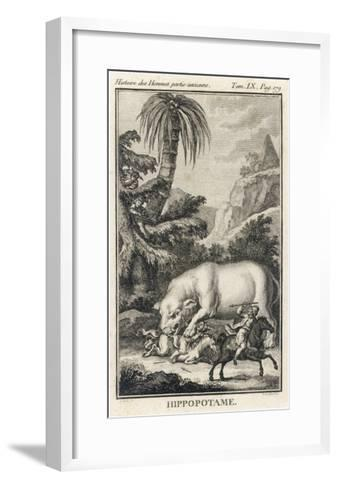 An Extraordinary Depiction of a Hippopotamus Savaging Hunters in an Exotic Landscape-G. Duclos-Framed Art Print