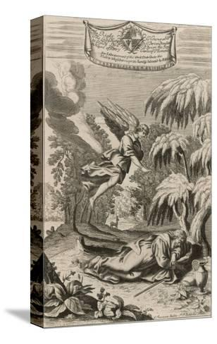 The Persecuted Prophet Elijah is Protected by an Angel Who Brings Him Food and Drink-P.p. Bouche-Stretched Canvas Print