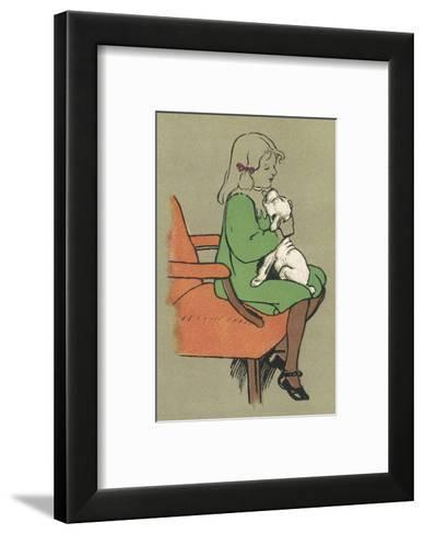 Little Girl is Licked Under the Chin by Her Affectionate White Puppy-Cecil Aldin-Framed Art Print