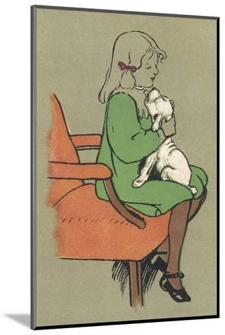 Little Girl is Licked Under the Chin by Her Affectionate White Puppy-Cecil Aldin-Mounted Giclee Print