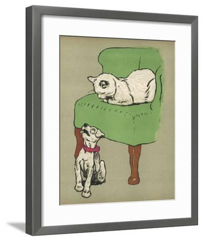 White Cat Relaxes on a Comfy Chair While a White Puppy Tries to Pull His Irritating Collar Off-Cecil Aldin-Framed Art Print