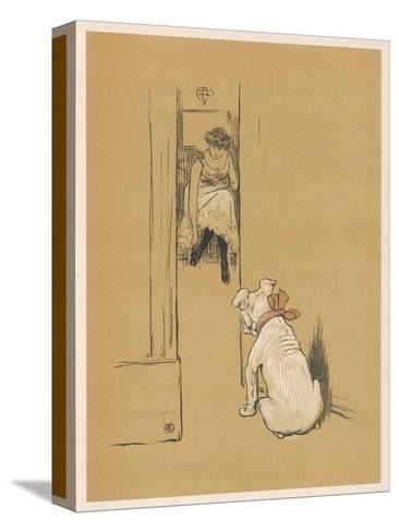 White Bulldog Guards His Master's Friend Pammy While She Changes Her Clothes-Cecil Aldin-Stretched Canvas Print