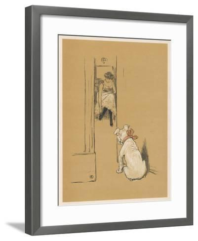 White Bulldog Guards His Master's Friend Pammy While She Changes Her Clothes-Cecil Aldin-Framed Art Print