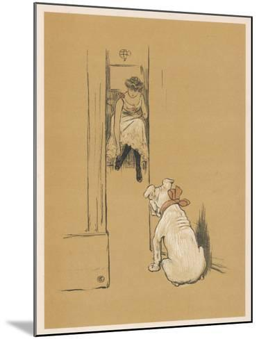 White Bulldog Guards His Master's Friend Pammy While She Changes Her Clothes-Cecil Aldin-Mounted Giclee Print