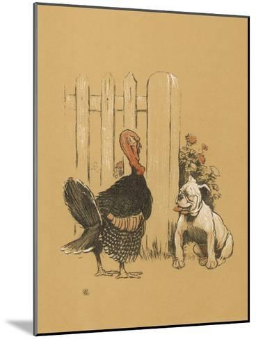 White Bulldog Looks up Enquiringly at a Rather Stern- Looking Turkey Cock-Cecil Aldin-Mounted Giclee Print