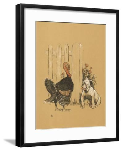 White Bulldog Looks up Enquiringly at a Rather Stern- Looking Turkey Cock-Cecil Aldin-Framed Art Print