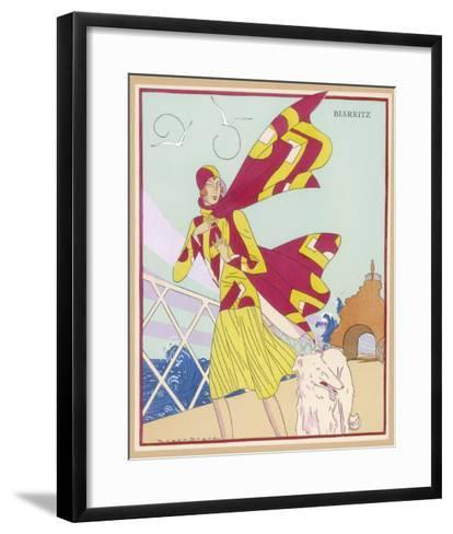 Borzoi and Its Owner Brave the Braxing Breezes of Biarritz-Roger Brard-Framed Art Print