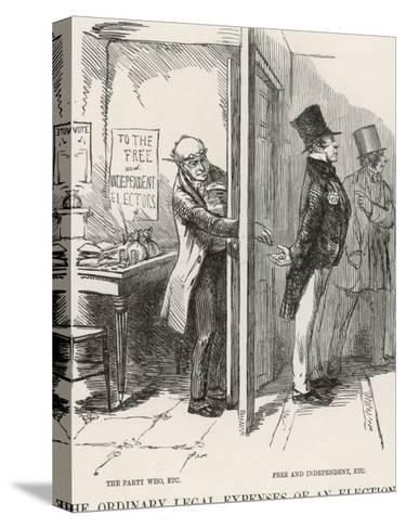 The Ordinary Legal Expenses of an Election-John Leech-Stretched Canvas Print