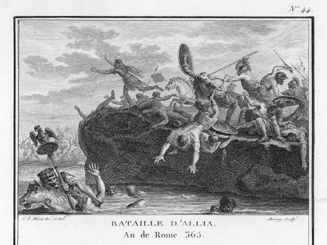 The Gauls Defeat the Romans on the River Allia-Augustyn Mirys-Stretched Canvas Print