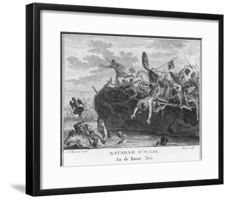 The Gauls Defeat the Romans on the River Allia-Augustyn Mirys-Framed Art Print