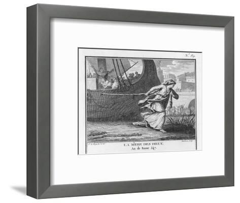 Claudia Quinta Clears Her Name by Dragging a Ship Bearing a Statue of the Mother Goddess into Rome-Augustyn Mirys-Framed Art Print