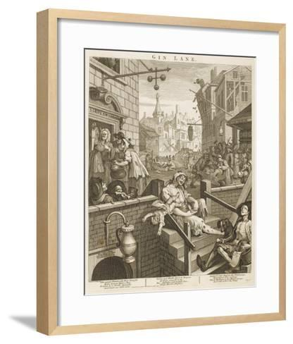 Political Prints Supporting a Ministerial Measure Against the Unlimited Sale of Gin-William Hogarth-Framed Art Print