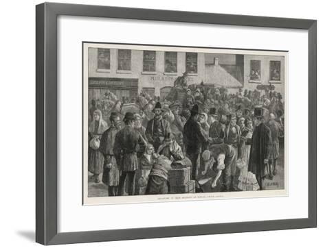Irish Emigrants Preparing to Sail to America from Clifden County Galway-A. O'kelly-Framed Art Print