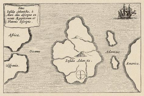 Map of Atlantis Showing Position Relative to Europe Africa and America-Athanasius Kircher-Stretched Canvas Print