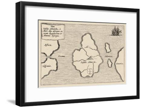 Map of Atlantis Showing Position Relative to Europe Africa and America-Athanasius Kircher-Framed Art Print