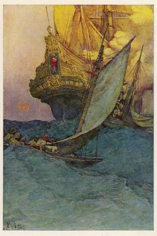 Pirates Attacking a Spanish Galleon in the West Indies-Howard Pyle-Stretched Canvas Print