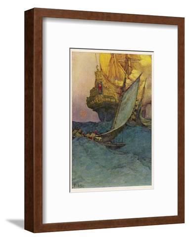 Pirates Attacking a Spanish Galleon in the West Indies-Howard Pyle-Framed Art Print