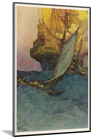 Pirates Attacking a Spanish Galleon in the West Indies-Howard Pyle-Mounted Giclee Print
