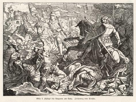 The Emperor Otto 1 Defeats the Hungarian Magyars at the Lechfeld- Sachse-Stretched Canvas Print