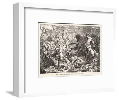 The Emperor Otto 1 Defeats the Hungarian Magyars at the Lechfeld- Sachse-Framed Art Print