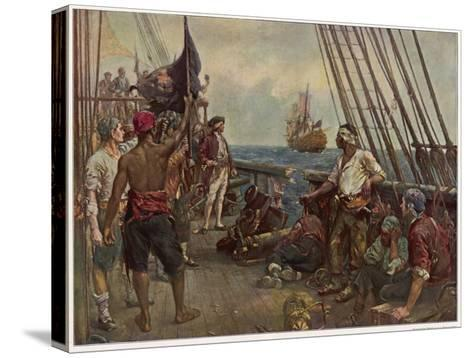 Pirate Crew Defy a Naval Warship-Bernard F. Gribble-Stretched Canvas Print