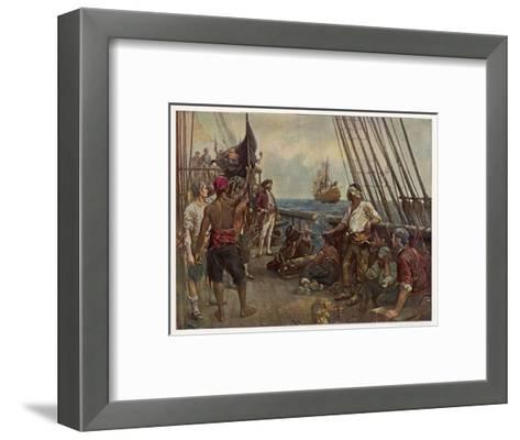 Pirate Crew Defy a Naval Warship-Bernard F. Gribble-Framed Art Print
