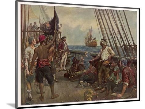 Pirate Crew Defy a Naval Warship-Bernard F. Gribble-Mounted Giclee Print