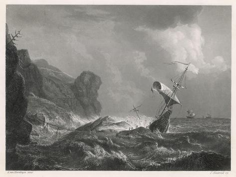 Shipwreck on a Rocky Coastline-T. Heawood-Stretched Canvas Print